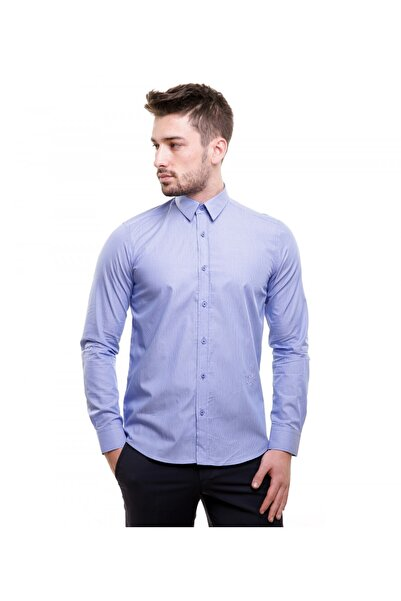 Toss Erkek Slim Fit Casual Mavi Gömlek