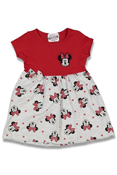 Flower Çocuk Mini Mouse Baskılı Elbise