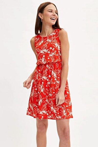 Kadın Turuncu Çiçek Desenli Belden Bağlama Detaylı Örme Elbise M9053AZ.20SM.OG198