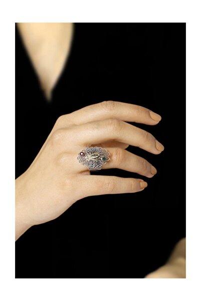 Sümer Telkari Laleli Telkari İşlemeli Gümüş Yüzük 2504