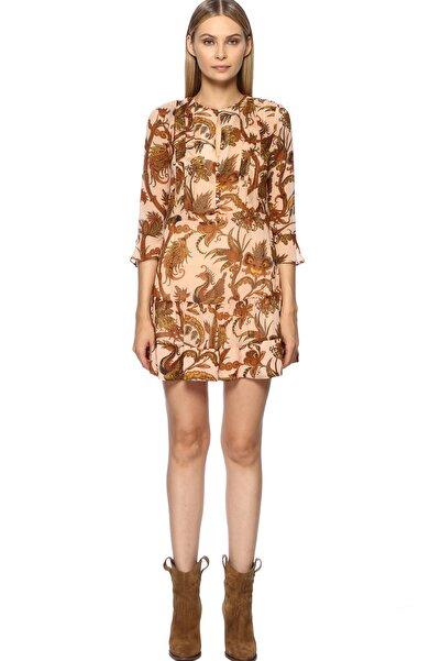 Network Kadın Mini Boy Pudra Rengi Desen Elbise 1070828