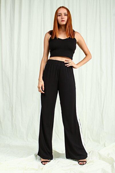 Collezione Kadın Siyah Regular    Şeritli Pantolon
