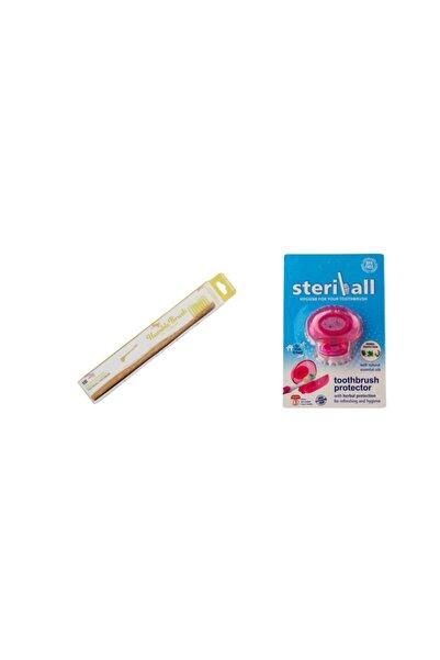 Humble Brush Çocuklar İçin Sarı Renk Diş Fırçası Ve Steriball Kırmızı Koruma Kabı