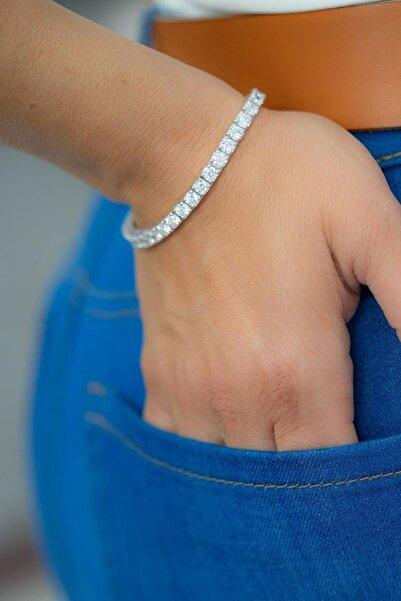 Crystal Diamond Zirconia Labaratuvar Pırlantası 0.50 Carat Su Yolu Bileklik