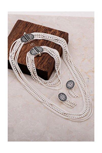 Sümer Telkari Midyat Hasırı Tasarım Gümüş Set 2028