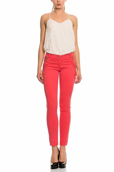 GIZIA CASUAL Kadın Mercan Rengi Skinny Kot Pantolon M15yas0211c7k
