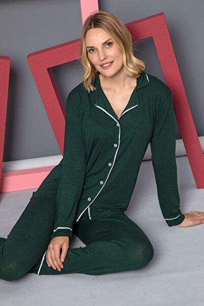 Siyah İnci Viskon Likralı Düğmeli Biyeli Pijama Takım