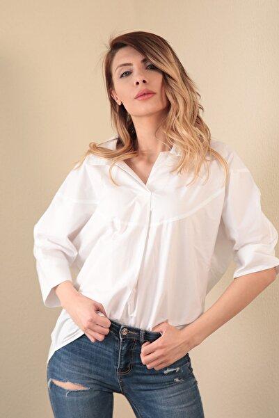 Kadın Beyaz Yarasa Kol Salaş Kadın Gömlek  20102002D2C