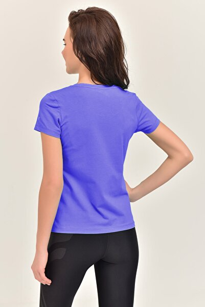 Mor Likralı Pamuklu Kadın T-Shirt EW-3006
