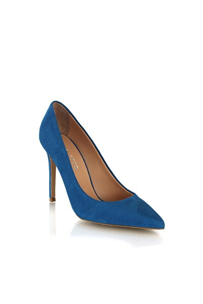 Süet Mavi Kadın Topuklu Ayakkabı