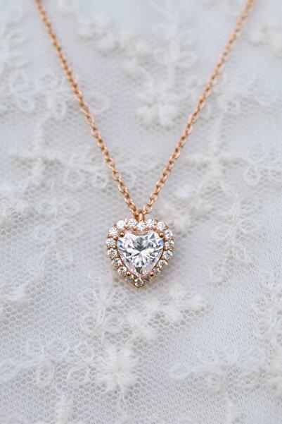 Crystal Diamond Zirconia Labaratuvar Pırlantası 1 Carat Kalp Kolye