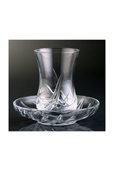 Kristal Fildişi 6 Kişilik Dekoratif Çay Bardak Takımı