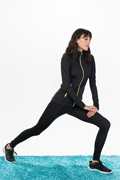 Runever Kadın Siyah Yeşil Fitness Tayt Takım