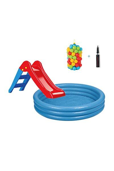 Intex Kaydıraklı Oyun Seti Mavi 168x38 cm Havuz + 6 cm 100'lü Oyun Havuz Topu + Pompa