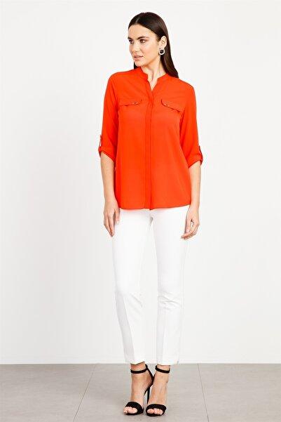 Moda İlgi Modailgi Dik Yaka Kapaklı Gömlek Mercan