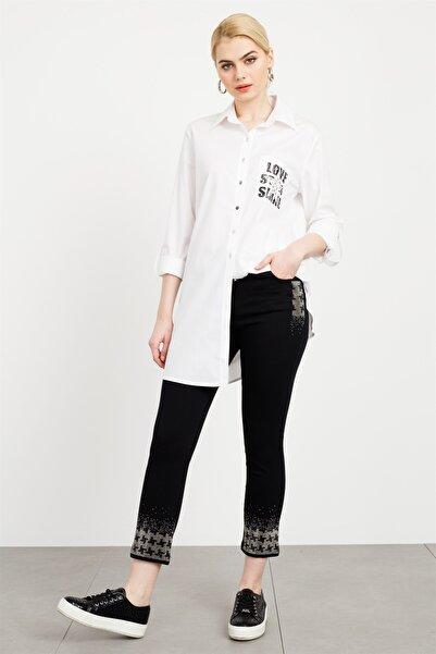 Moda İlgi Baskılı Taşlı Coton Gömlek Beyaz