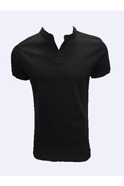 Lion 2515 Siyah Hakim Yaka Petek Dokuma Erkek T-shirt
