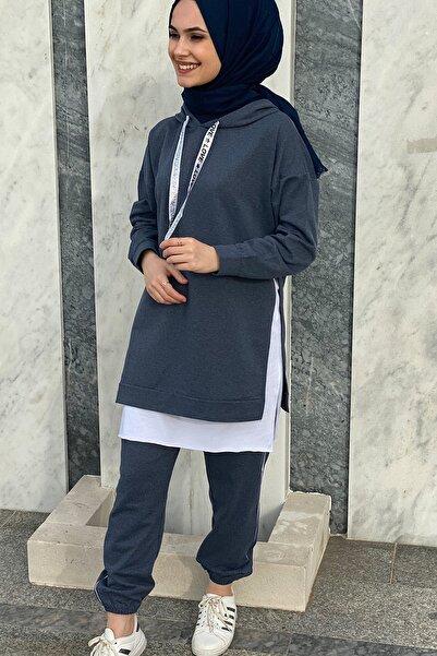 SHOPPİNG GO Kadın Beyaz Tişörtlü Eşofman Takımı