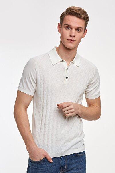 Hemington Giza Pamuk Desenli Beyaz Triko Polo
