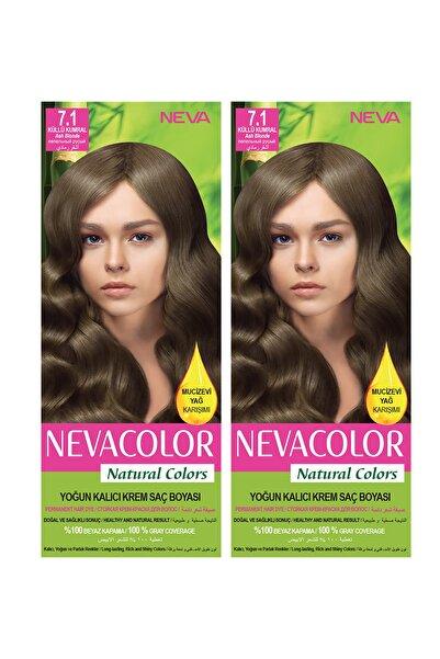 NEVA KOZMETİK Natural Color Saç Boyası 7.1 Küllü Kumral 2'li Set