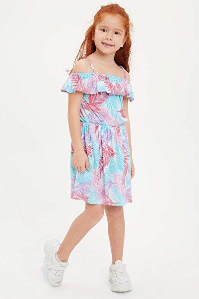 Kız Çocuk Baskılı Dokuma Elbise