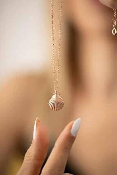 Deniz Kabuğu Model Rose Kaplama Gümüş İtalyan Kolye