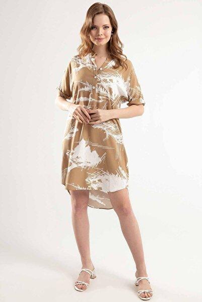 Y-London Kadın Camel Yarı Düğmeli Duble Kısa Kol Kısa Elbise Y20S110-1560