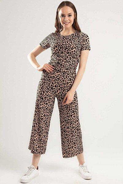 Y-London Kadın Leopar Desenli Kısa Tişört Bol Kesim Beli Lastikli Pantolon Takım Y20S159-5414-2