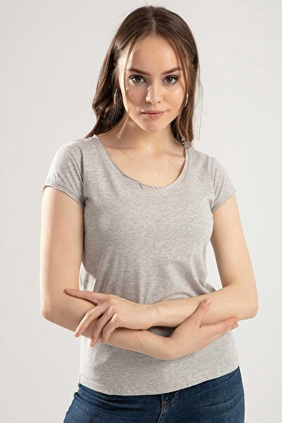 Y-London Kadın Gri V Yaka Kısa Kol Tişört Y20S102-2117
