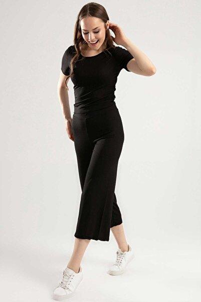 Y-London Kadın Siyah Kısa Tişört Bol Kesim Beli Lastikli Pantolon Takım Y20S159-5414