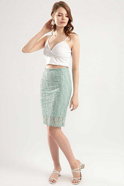 Y-London Kadın Mint Yeşili Dantelli Kalem Etek Y20S102-3002-2