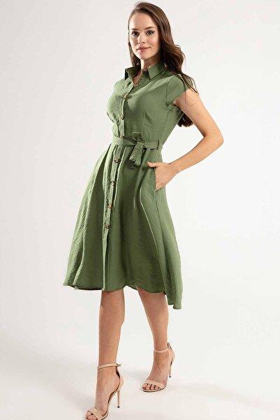 Y-London Kadın Haki Kuşaklı Kısa Kollu Elbise Y20S110-1677
