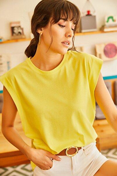 Olalook Kadın Sarı Koltuk Altı Parçalı Yarasa T-shirt TSH-19000330