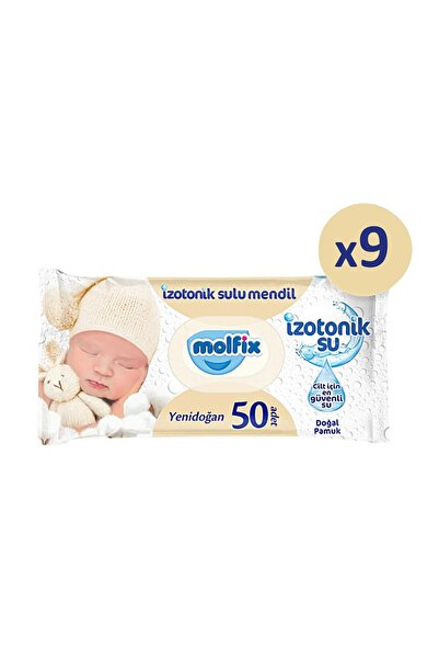 Molfix Yenidoğan Izotonik Islak Mendil 9 Paket X 50 Yaprak- 450 Yaprak