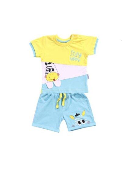 Miniworld Erkek Bebek 6-24 Ay Zebra Motifli Penye Şortlu Takım  Pamuk