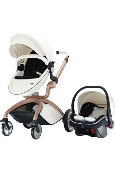 YOYKO Hotmom Travel Sistem Bebek Arabası Ana Kucaklı Beyaz Rose Kasa