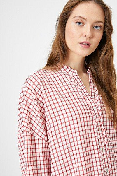 Koton Kadın Kırmızı Beyaz Kareli Gömlek 0YAK68180PW