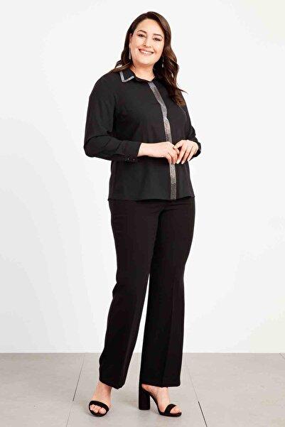 Moda İlgi Kadın Erkek Yaka Taşlı Gömlek Siyah