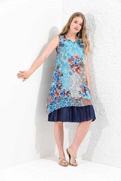 Big Free Tb20yb111012 Mavi Bayan Çiçek Desenli Çift Kat Yarım Kol Tülbent Elbise