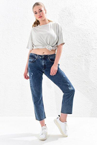 Big Free Kadın Mavi Yüksel Bel Püskül Paça Jean Pantolon Tb20Yb011236