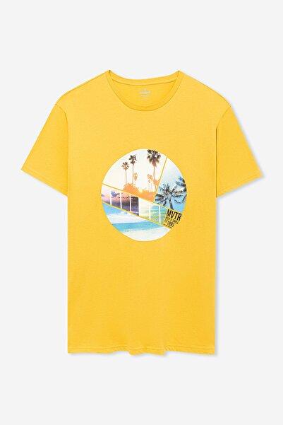 Erkek Baskılı Sarı Tişört 066160-30646