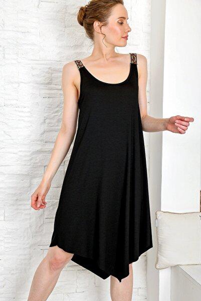 Kadın Siyah Etnik Askılı Asimetrik Kesim Viscon Elbise ALC-X4226