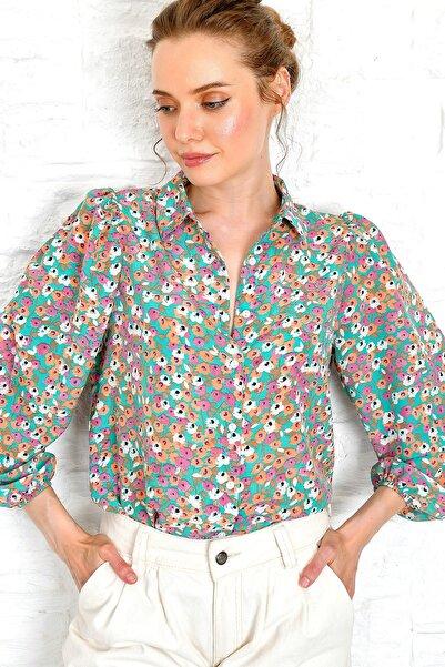 Kadın Yeşil Prenses Kol Dokuma Gömlek DNZ-3184