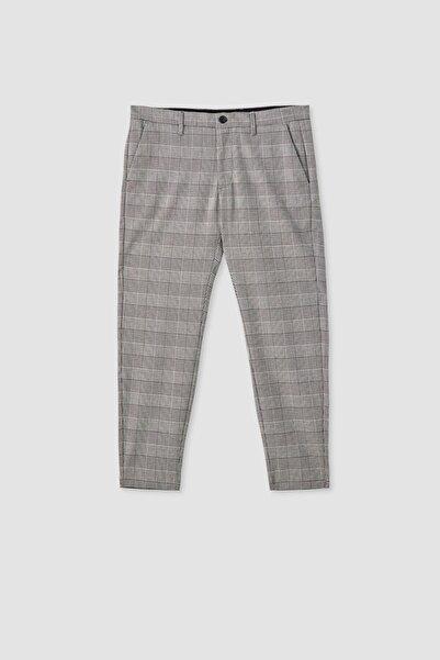 Pull & Bear Erkek Açık Gri Gri Kareli Özel Dikim Pantolon 05670907