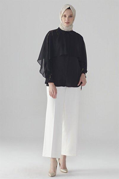 Zühre Kadın Broş Detaylı Gömlek Siyah G-0031