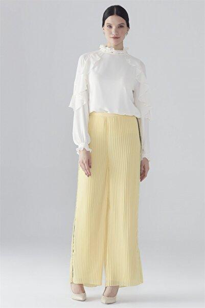 Zühre Bol Kesim Pantolon Sarı P-0064