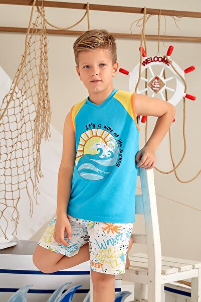 Lohusa Sepeti Erkek Çocuk Turkuaz Sörfçü Şort Takımı - 0034 Yaş 9-14