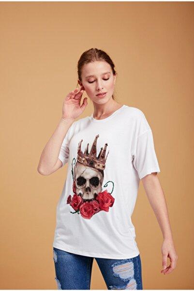 Lefon Kuru Kafa Baskılı Taşlı Beyaz T-shirt