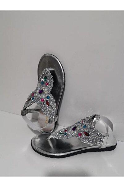 Primo  Taşlı Parmak Arası Sandelet Kadın Gümüş