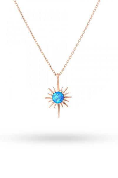 Gümüş Tezgahi Gümüş Opal Taşlı Mini Kutup Yıldızı Kolye